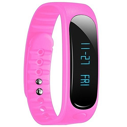 Waterproof Fashion Bluetooth Smart Activity Tracker Bracelet E02 For IPhone Android  (Color:Pink)
