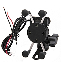 Motorcycle Mount Phone Holder With USB Charger - Black