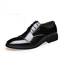 Refined Beauty Generic 2017 Men's Dress Modern Classic Lace Up Leather Slip On Formal Shoes Men Genuine Leather Casual Shoes Super Plus Size -black