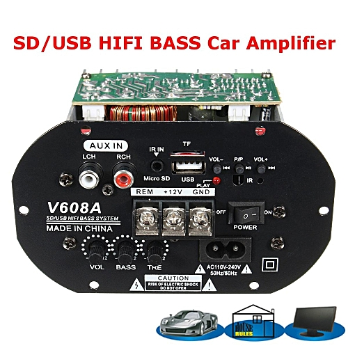 UNIVERSAL 80W High Power Bass Car Subwoofer Hi Fi Amplifier Board TF USB 12V 110V 220V