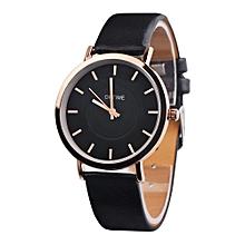 Retro Rainbow Design Leather Band Analog Alloy Quartz Wrist Watch