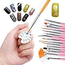 Mini Finger Nail Art Mixing Palette For Free Hand Manicure Ring Nail Tools Metal-silver