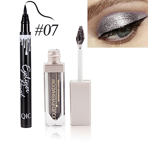 Generic Professional Shimmer Shiny Eye Shadow Waterproof Eye Liner Pigment Nude Makeup Red Color Liquid Make Up Eyeliner Combination(#L5883 7)