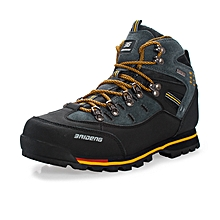 Winter Autumn Leather Men Hiking Mountain Climbing Shoes Anti-skid Waterproof Outdoor Trekking Shoes Wearable High Quality - Yellow