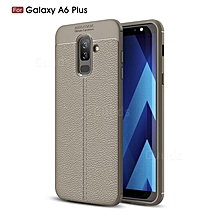 Samsung Galaxy A6 Plus(A6+ 2018) Silicone Case, Litchi Pattern TPU Anti-knock Phone Back Cover For Samsung Galaxy A6 Plus(A6+ 2018) - Gray.