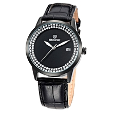 Black Women's Leather Strap Watch With a Black Dial