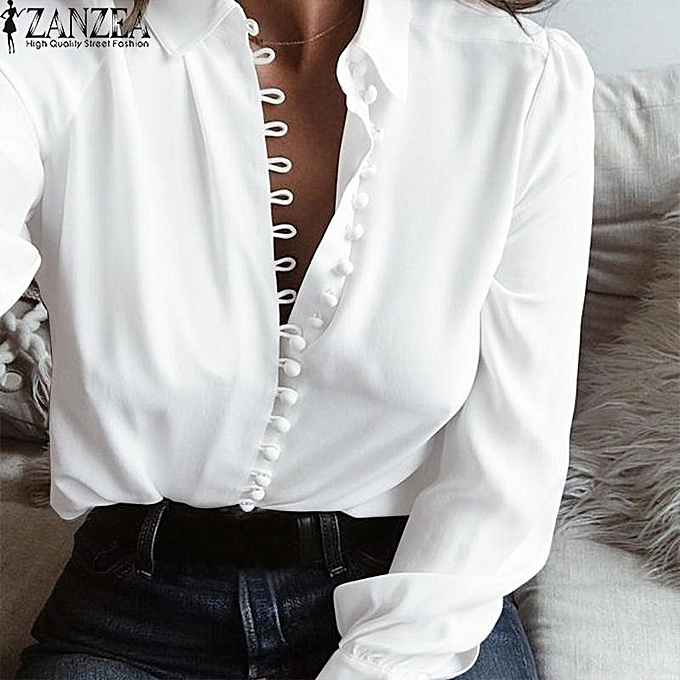 09ab47f7c160 ZANZEA Women Long Sleeve Buttons Down Low Cut Casual Blouse Shirt Tops Plus  Size Off White