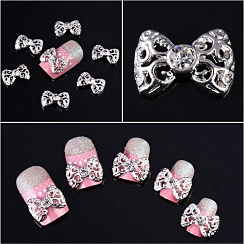Buy Zlime 10 X Silver 3d Rhinestones Bow Tie Nail Art Glitter Slices