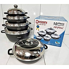 Non-Stick Cooking Pots - 10 Pieces - Grey
