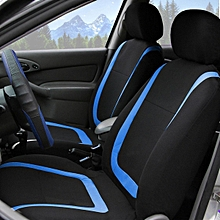 Universal Car Seat Covers Full Set Washable Front Rear Head Covers BLUE &BLACK