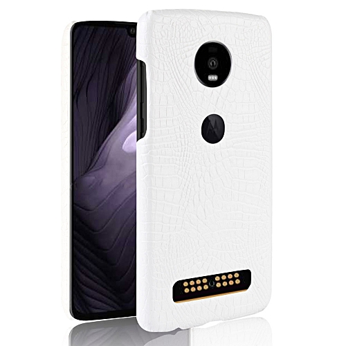 new product 3c700 12d08 Shockproof Crocodile Texture PC + PU Case for Motorola Moto Z4 Play (White)