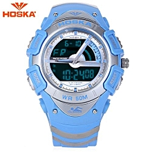 HD011B Multifunctional Dual Movt LED Digital Quartz Children Sport Watch Luminous Chronograph Calendar Alarm 50M Water Resistance Wristwatch-Blue-Blue