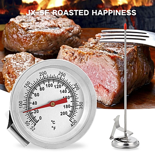 Oven Thermometer Gauge Probe NEW Stainless Steel Silver 200 Degrees Celsius Kitchen Cooking Household