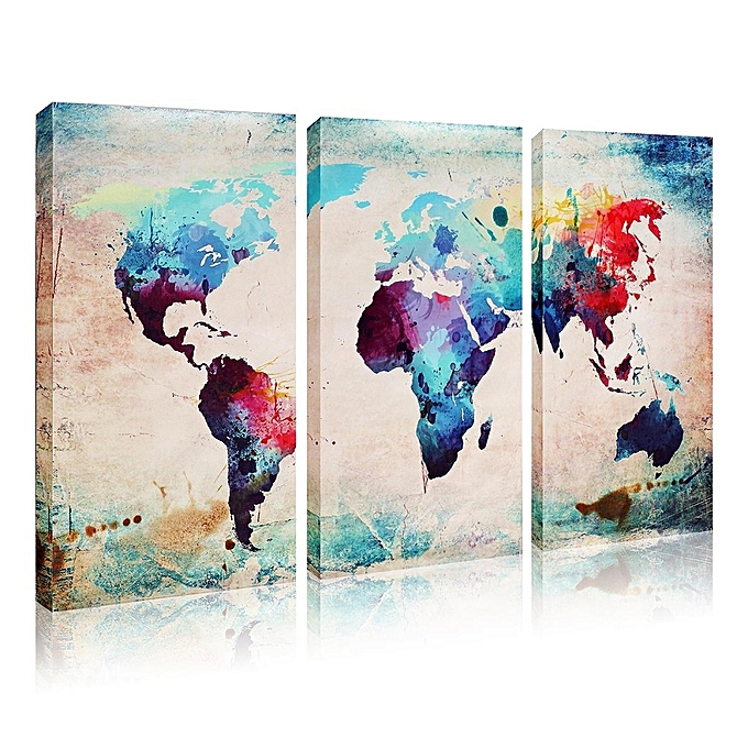 Buy universal 3 panel colourful art world map canvas painting print 3 panel colourful art world map canvas painting print unframe wall display decor gumiabroncs Gallery