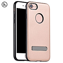 PU Leather Metal Magnetic Stand Protective Skin For IPhone 7 4.7 Inch - Rose Gold