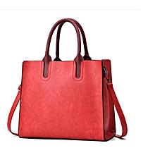 Elegant Leather Handbag- Red