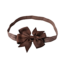 Babies Pure Color Bowknot Hairband - Coffee