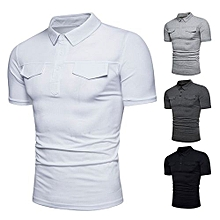 Newest Fashion Comfortable Casual Men's Summer Cotton  Top Short Sleeve Polo Shirts-White