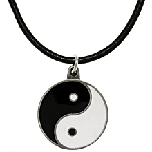Yin yang pendant black corded necklace