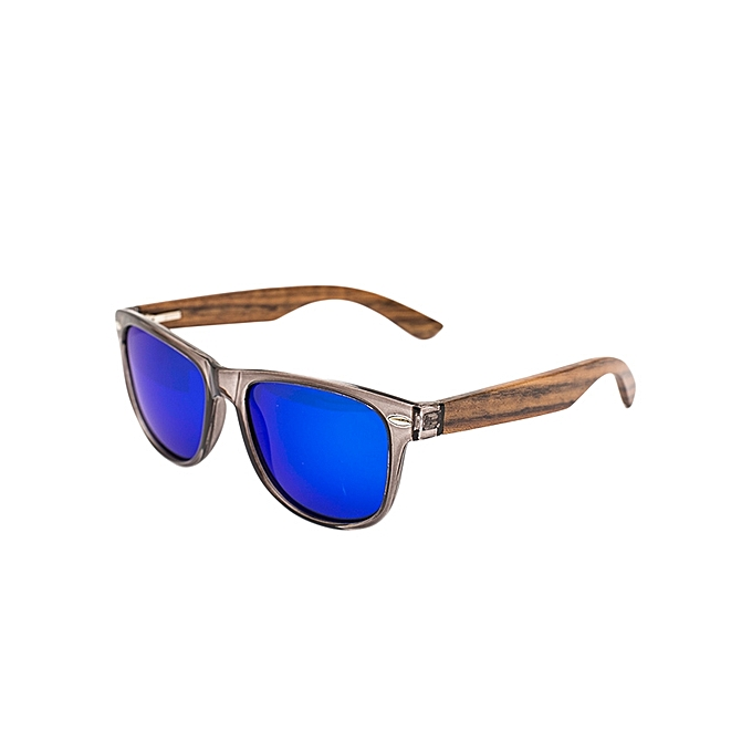 0f62c5b4629 ... Black Frame With Ebony Wood Arms And Blue Revo Polarized Lens Sunglasses  ...