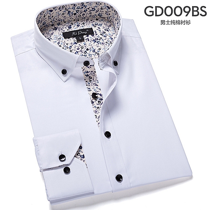 a57524699fa mens casual long Sleeve 100% Cotton Shirts Men Rock Shirt Slim Fit solid  Male dress