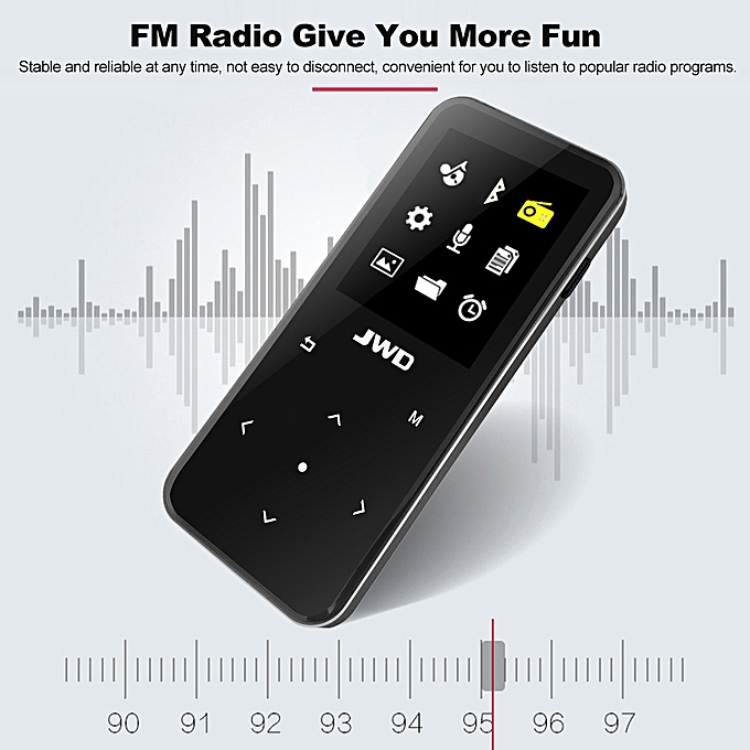 JWD JWM-106 8GB MP3 MP4 Music Player Bluetooth Loseless APE FLAC Audio  Player Touch Button FM Radio Voice Recording w/ TF Card Slot 1 8 Inches  Screen