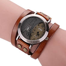 CCQ Brand Vintage Cow Leather Bracelet Watch Men Women Wristwatch Quartz -Coffee