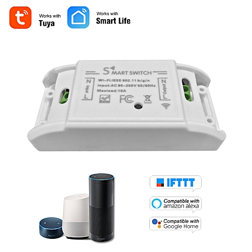 Wifi Smart Switch RF 433MHz Compatible with Amazon Alexa & for Google Home  Timer 10A/2200W Wireless Remote Switch for Android/IOS APP Control for