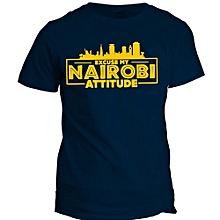 Nairobi Attitude Navy Blue   Printed T-Shirt Design