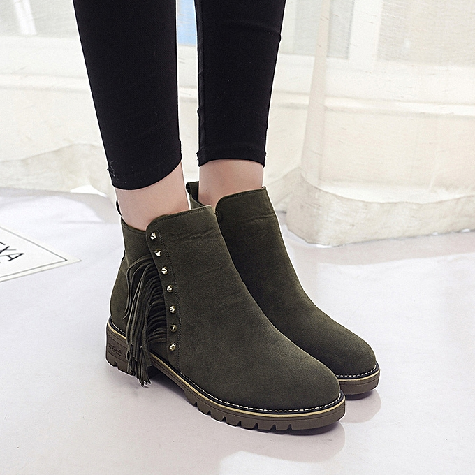 a4a8cecbfd0 Womens boots female Short Booties Ankle Boots Winter Martin Boots Shoes  -Army Green 36-