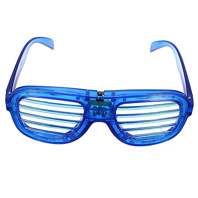 ef56409e9f4 5 Flashing Blinking LED Light Up Slotted Shutter Shades Glow Glasse Club  Party Blue