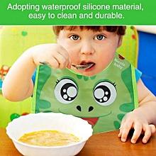 Waterproof Baby Kids Boys Girls Comfort Pocket Bib Cartoon Pattern Burp Cloths(Green)