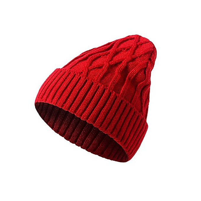 64464a9d46045 Wenrenmok Store Mens Ladies Knitted Woolly Winter Oversized Slouch Beanie  Hat Cap Red-Red