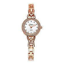 Luxury Women's  LVPAI Wrist Watches Classic Ladies Women Unisex Stainless Steel  Rhinestone Quartz Wrist Watch White-White