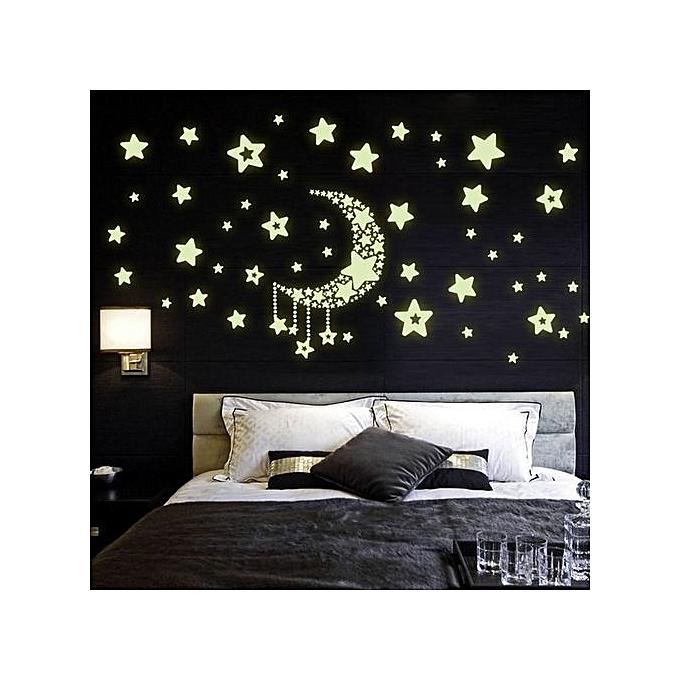 Diy Night Light Glow In The Dark Moon Stars Wall Stickers Home Decor Decals Jumia Kenya