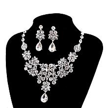 Women''s Wedding Jewellery Sets Fashion Bride Earrings & Pendant Necklace-White'