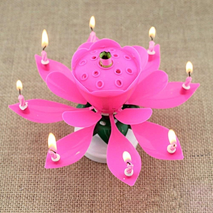 Singing Happy Birthday Flower Candle Cake Topper