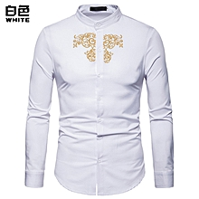 Men Shirt Long Sleeve Fashion Shirt Court Style Embroidered Henry Collars Shirt Casual Slim Fit Male Shirts Casual Shirt - white