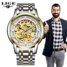 Relogio Masculino LIGE Mens Watches Top Brand Luxury Automatic Mechanical Watch Men Full Steel Business Waterproof Sport Watches 9848