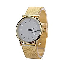 Wrist Watch Round Case Gold Tone Meshband Alloy