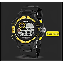 Olivaren SYNOKE Men's Multi Function Military Sports Watch LED Digital Dual Movement Watch Yellow