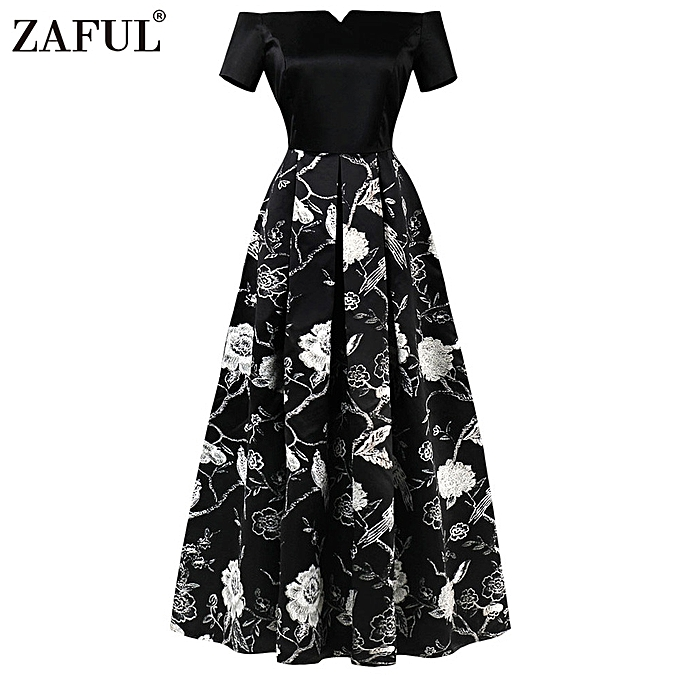 f5e12e35710d Zaful Hepburn Vintage Series Women Dress Spring And Summer Off Shoulder  Floral Pure Color Stitching Design Short