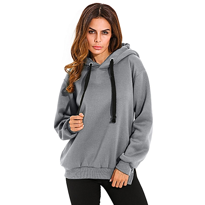b85c1656e0 ZANZEA Women Casual Hoodies Sweatshirts Hoody Pullover Leisure Autumn Long  Sleeve Hem Split Solid Outwear Tops