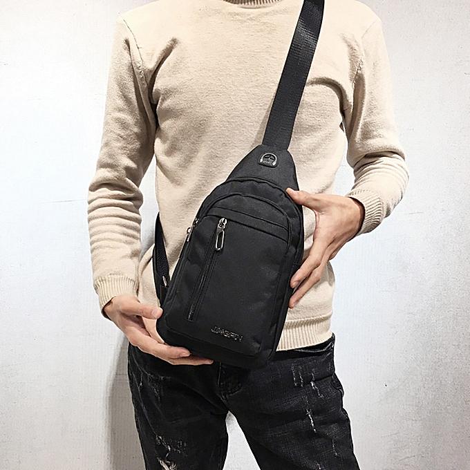 7d699b58eba Men Canvas Messenger Bag Male Versatile Casual Crossbody Bag Small Bag Wild  Plaid Chest Shoulder Bag For Man 2019 Solid Color(Gray)