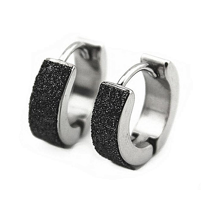 679d64aa8 Fashion MagiDeal Jewelry Men Silver/Black Hoop Small Huggie Earrings ...