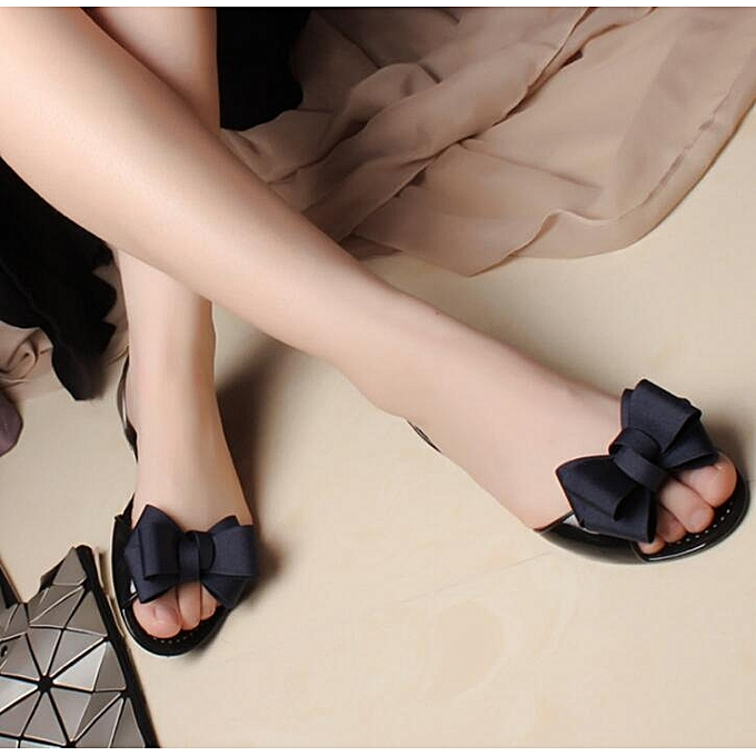 124d1a546 Fashion Summer Women Slip On Bow Jelly Flats Sandals Beach Clear Shoes  Slippers BLUE