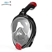 Scuba Diving Anti-fog Detachable Dry Snorkeling Full Face Mask Set L - Black