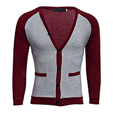Long Sleeve Patchwork Design Cardigan - Wine Red+Grey