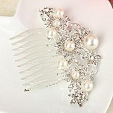 Bridal Wedding Hair Comb Clip Pearls Crystal Rhinestones Diamante Hairpin Comb