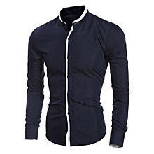 Fashion Personality Men's Casual Slim Long-sleeved Shirt Top Blouse -navy   XXL